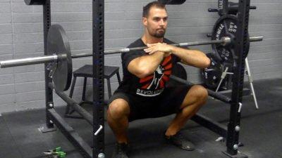 sentadilla frontal con barra tecnica